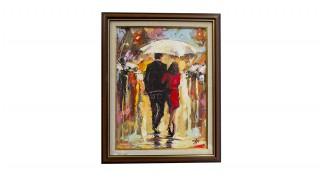 """Картина с маслени бои """"Двама под дъжда"""""""
