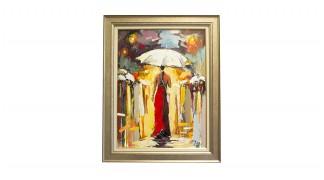 """Картина с маслени бои """"Сама под дъжда"""""""