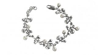 Сребърна гривна Грозде с перла 971B